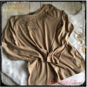 LAUREN RALPH LAUREN Gold Sequin Embroidered Top